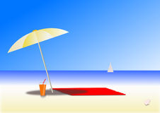 Sunny day at beach. Illustration of a sunny day at beach Stock Images