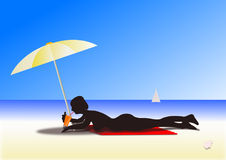 Sunny day at beach vector illustration