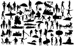 Sunny day on the beach silhouette over 50 people characters. Sunny day on the beach silhouette over 50 people charactersboy,girl,man,woman,swimmer,parents vector illustration