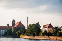 Sunny day in beautiful old city. Wonderful old city of Wroclaw - Poland stock photos