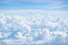 Sunny Day Blue Sky Cloud from airplane Background Royalty Free Stock Photos