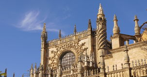 Sunny day blue sky seville main cathedral 4k spain stock footage