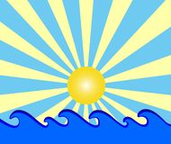 Sunny day with blue waves Royalty Free Stock Photography