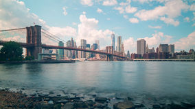 Sunny day broolkyn bridge panoramam 4k time lapse from new york stock footage