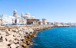 Sunny day in Cadiz - Spain. A sunny day with a deep blue sky in Cadiz, Andalusia region, South of Spain Royalty Free Stock Images