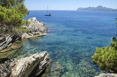 A sunny day at Cala Gat in Mallorca, Spain. A sunny day at Cala Gat near Cala Ratjada in Mallorca, Spain in July 2016 Royalty Free Stock Image