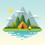 Sunny day camping illustration in flat style. Sunny day landscape illustration in flat style with tent, campfire, mountains, forest and water. Background for Stock Photography