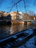 Sunny Day on Canal in Amsterdam. A Sunny Day on a Canal in Amsterdam Royalty Free Stock Photography