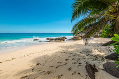Sunny day on Carana Beach, Seychelles Stock Photography