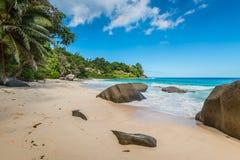 Sunny day on Carana Beach, Seychelles Stock Image