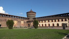 A sunny day in the castle of Sforza. The view of the Armoury yard. Milan, Italy. MILAN, ITALY - SEPTEMBER 17, 2017: A sunny day in the castle of Sforza. The view stock video