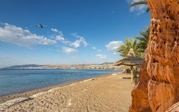 Sunny day in central beach of Eilat, Israel Stock Photography