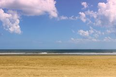 Sunny day on Charleston sandy beach royalty free stock photos