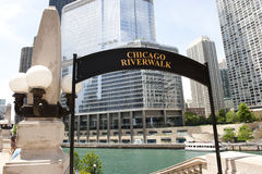 Sunny Day in Chicago Riverwalk Royalty Free Stock Photo