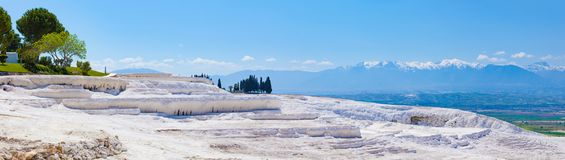 White travertine, dry pool in Pamukkale, Turkey Royalty Free Stock Photography