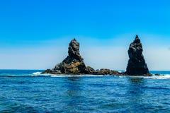 Sunny day on the coast of the Japanese Sea. stock photo