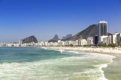 Sunny day on Copacabana Beach in Rio de Janeiro Royalty Free Stock Photos