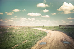 Sunny day in countryside. Empty rural road at summer Stock Photos