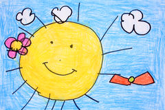 Sunny day- crayon drawing royalty free stock photos