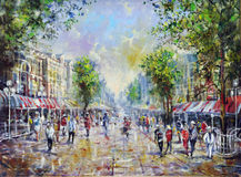 A sunny day. A sunny das in a busy town. Impressionistic painting Royalty Free Stock Photos