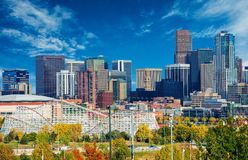 Sunny Day in Denver Colorado. United States. Downtown Denver City Skyline and the Blue Sky