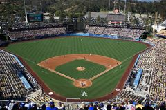 Dodger Stadium - Los Angeles Dodgers. A sunny day Dodgers baseball game at classic Dodger Stadium in Los Angeles, California Stock Photos
