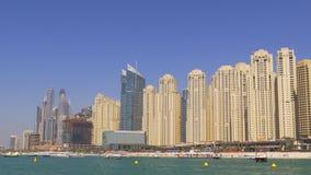 Sunny day dubai marina jbr block beach panorama 4k uae stock video footage