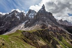 Sunny day in early summer, Cimon della Pala, aka. The Matterhorn of the Dolomites, famous peak in Pale di San Martino area royalty free stock photo