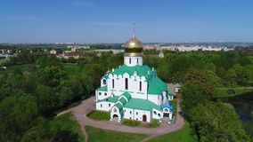 Sunny day at the Fedorovsky Cathedral. Tsarskoye Selo, Saint Petersburg. Russia aerial photography. Sunny day at the Fedorovsky Cathedral. Tsarskoye Selo, Saint stock footage