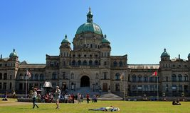 Sunny day in front of Legislative Assembly in Victoria, Canada royalty free stock photo