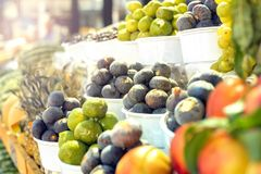 Sunny day. Fruit and vegetable market. Stand with fresh fruit, mostly figs, in a market Tirana, Albania Stock Photography
