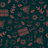 Sunny day for gardening seamless pattern with trovel and other e royalty free illustration