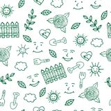 Sunny day for gardening seamless pattern with trovel and other e. Lements on white background. Vector illustration Stock Image
