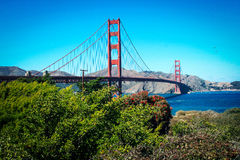 Sunny day at The Golden Gate Bridge in San Francisco, California Royalty Free Stock Images