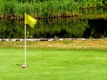 Sunny Day Golfing mit rosa Golfball lizenzfreie stockbilder