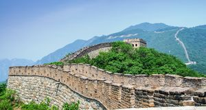 Sunny day at the great wall of China. The Great Wall of China is a series of fortifications made of stone, brick, tamped earth, wood, and other materials Royalty Free Stock Photo