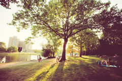 Sunny day in green park with relaxing people in Berlin Royalty Free Stock Images