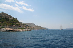 Sunny day in the harbour of Hydra Island, Greece Stock Image