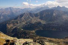 Sunny day high in mountains. Sunny day high in Tatra Mountains (Tatry), Zakopane, Poland royalty free stock photography