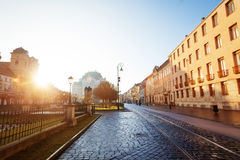 Sunny day on Hlavna street in Kosice, Slovakia Royalty Free Stock Photos