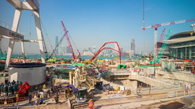 Sunny day hong kong bay port construction panorama 4k time lapse china. China summer sunny day hong kong city bay port construction panorama 4k time lapse stock video