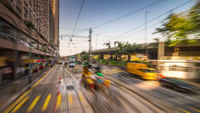 Sunny day hong kong center tram traffic ride panorama 4k time lapse china. China sunny day hong kong city center famous tram traffic ride panorama 4k time lapse stock video footage