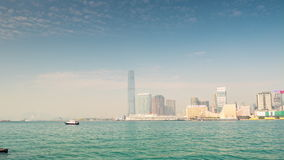 Sunny day hong kong kowloon island bay tower panorama 4k time lapse china stock video footage