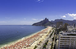 Sunny day on Ipanema Beach Royalty Free Stock Images
