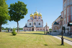 Sunny day in the Iversky Svyatoozersky Monastery. View of a cathedral of the Icon of the Mother of God Iverskaya. Valdai, Rus Royalty Free Stock Photos