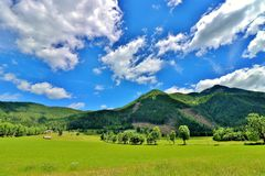 a sunny day in Jezersko stock images