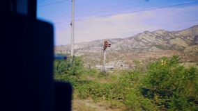 Sunny day landscape background train passenger window plate Italy. Sunny day landscape background train passenger window plate 4k Italy stock video footage