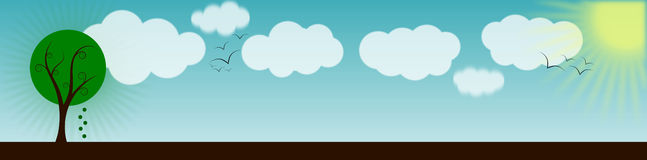 Sunny day landscape banner. A simple landscape banner with tree, clouds, birds and sun Stock Photography