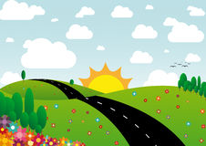 Sunny day landscape. Illustration of sunny day landscape with flowers, trees and clouds Stock Photos
