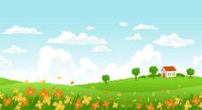Sunny day landscape. Sunny day seamless landscape with house on a hill and flower field Stock Photo